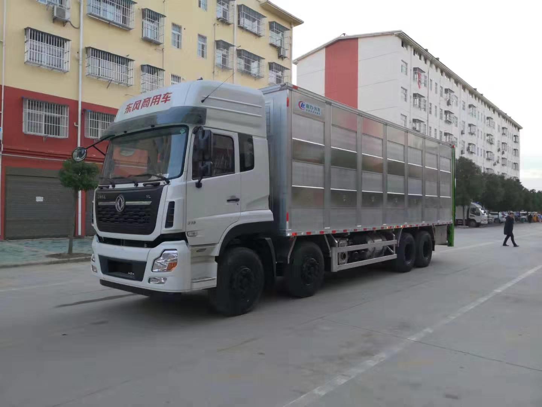 东风天龙前四后八9.6米铝合金禽畜运输车 过滤猪仔运输车