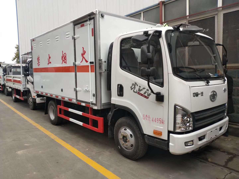 解放虎V蓝牌危险物品杂项/易燃气体厢式运输车