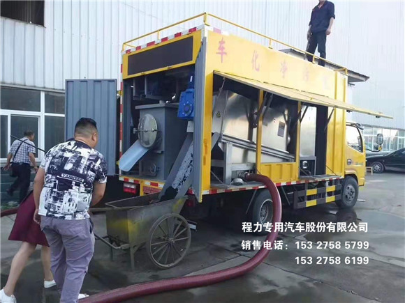 东风多利卡污车处理车在小区清污作业效果现场视频!视频