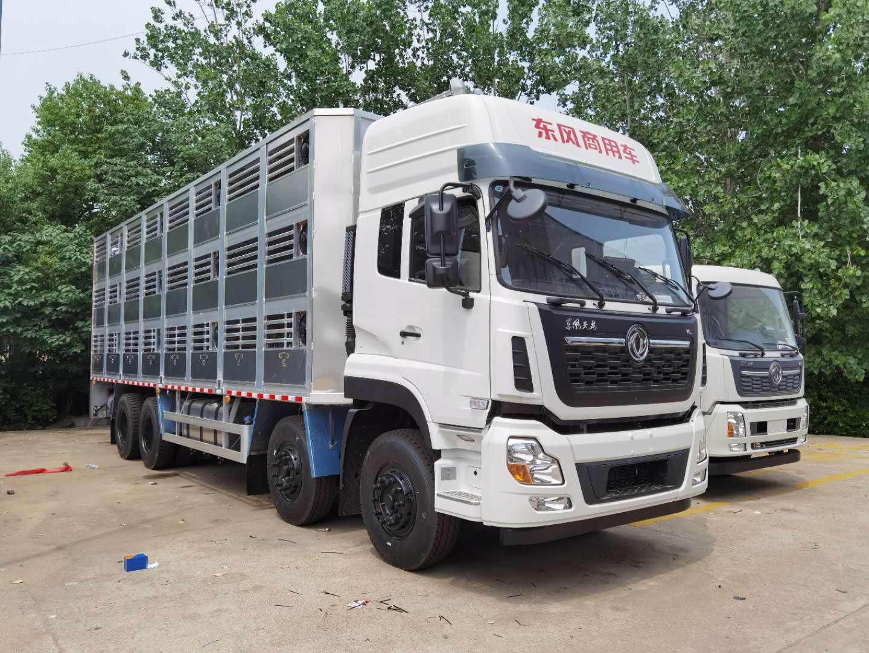 东风天龙前四后八9.6米运猪车_拉猪车_生猪运输车厂家价格