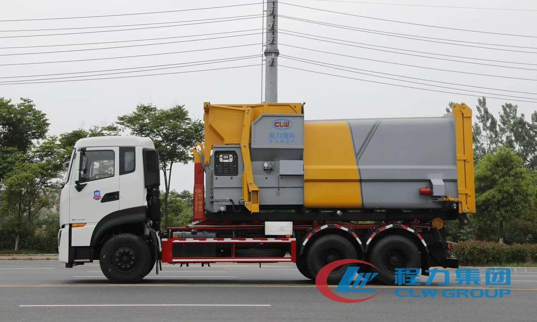 国六东风天龙18-20方勾臂式垃圾车图片