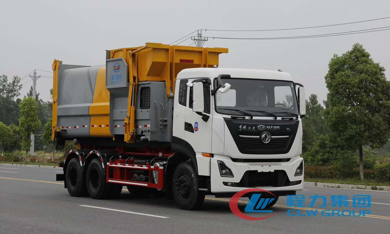 东风天龙18-20立方大勾臂垃圾车图片