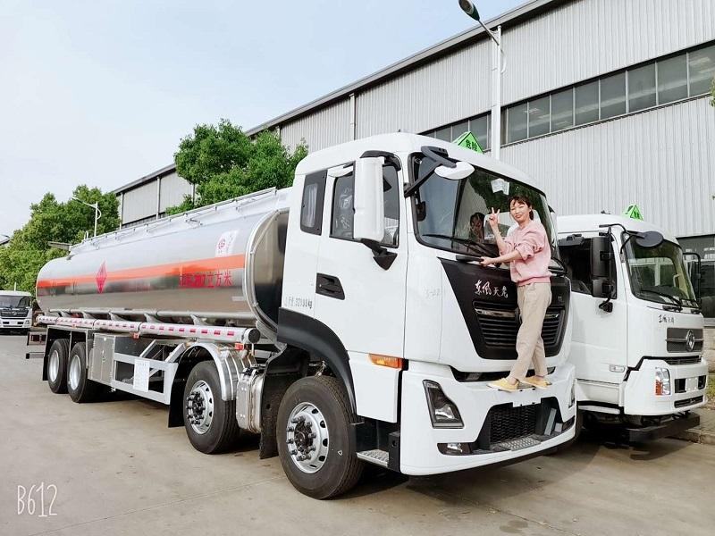 國六東風天龍前四后八25噸鋁合金油罐車廠家報價 視頻視頻