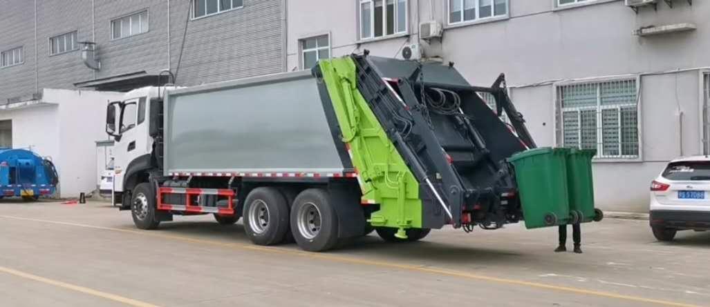 14吨以上后置挂桶压缩垃圾车摆臂垃圾车多功能操作视频图片