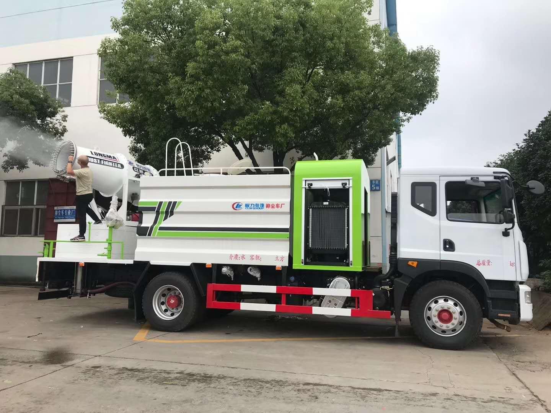 12吨东风天锦洒水车厂家抑尘车80米雾炮操作视频图片