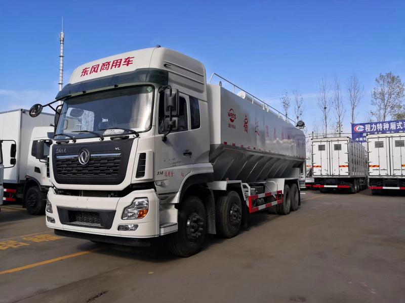 东风天龙前四后八40方20吨散装饲料运输车厂家13971799462