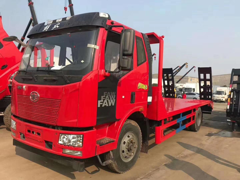 解放J6平板拖车挖机运输车厂家图片