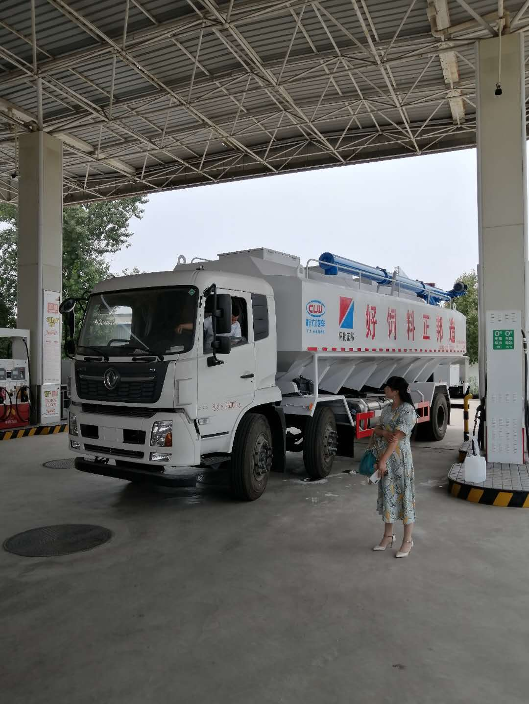 東風天錦小三軸30方散裝飼料運輸車客戶調試中,圖片