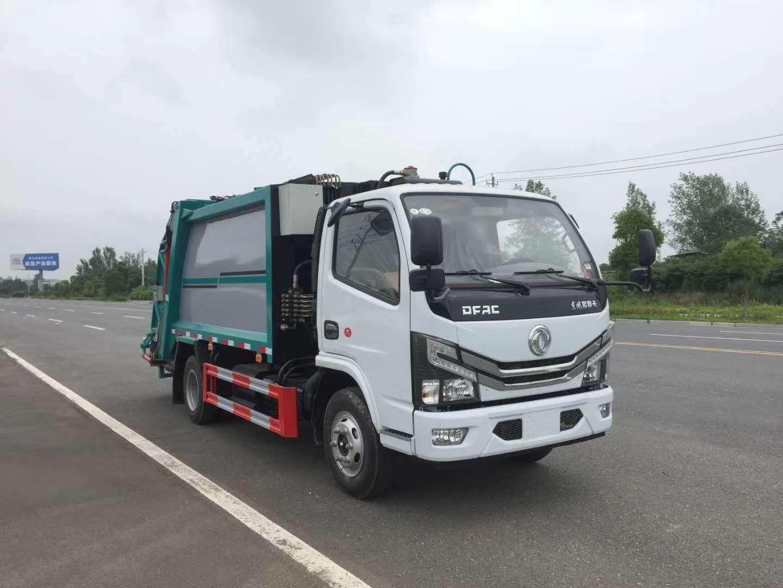 6方东风压缩垃圾车厂家可装90桶至100桶垃圾图片