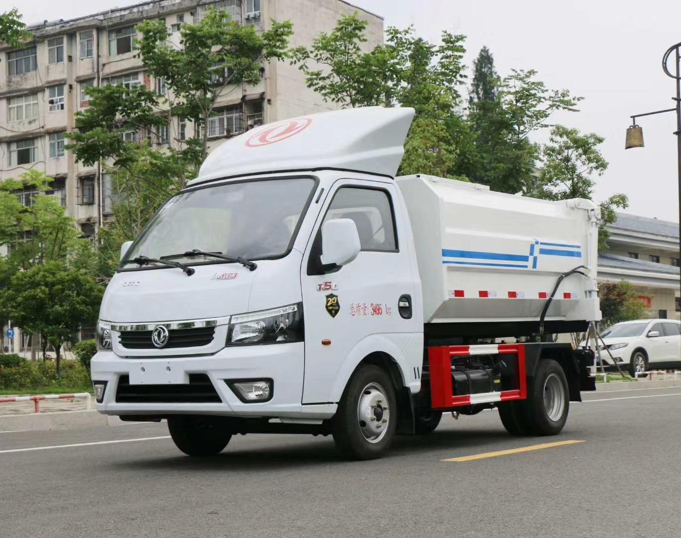 国六东风途逸挂桶垃圾车图片