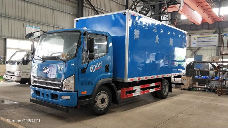 解放虎v厢长5.2米易燃气体箱式运输车额载7吨包上户视频视频