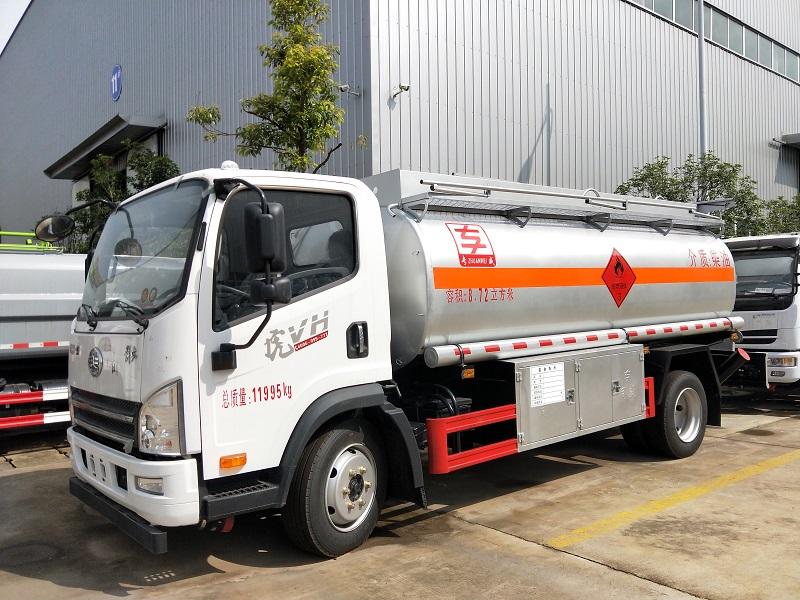 解放国五8吨加油车报价 8.72方柴油加油车厂家 配置 视频视频
