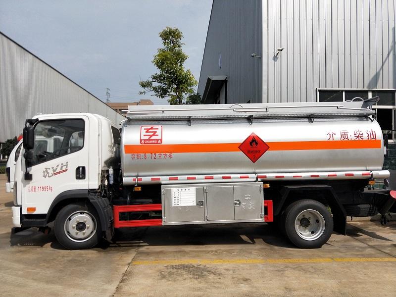 解放8吨8.72方加油车满载8.5吨油罐车手续齐全价格视频图片