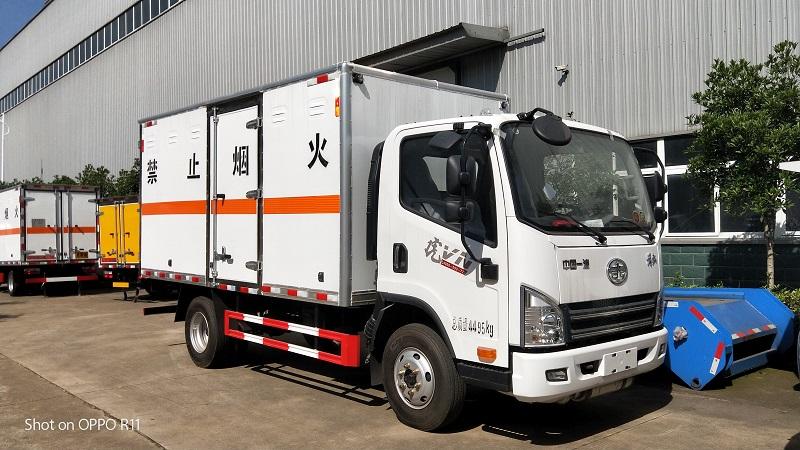 解放虎V危險品4米2液化石油氣廂式氣瓶運輸車參數 視頻圖片