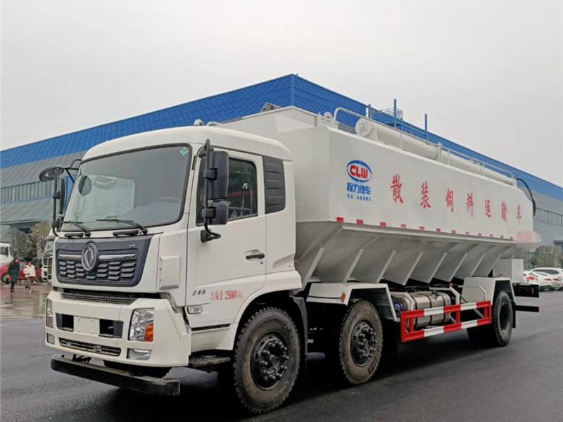东风天锦三轴15吨饲料车厂家价格_前四后四饲料车配置图片