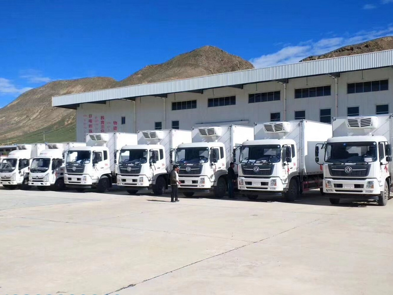 5台东风天锦6米55冷藏车和2台福田奥铃4米2冷藏车抵达美丽的西藏顺利交车