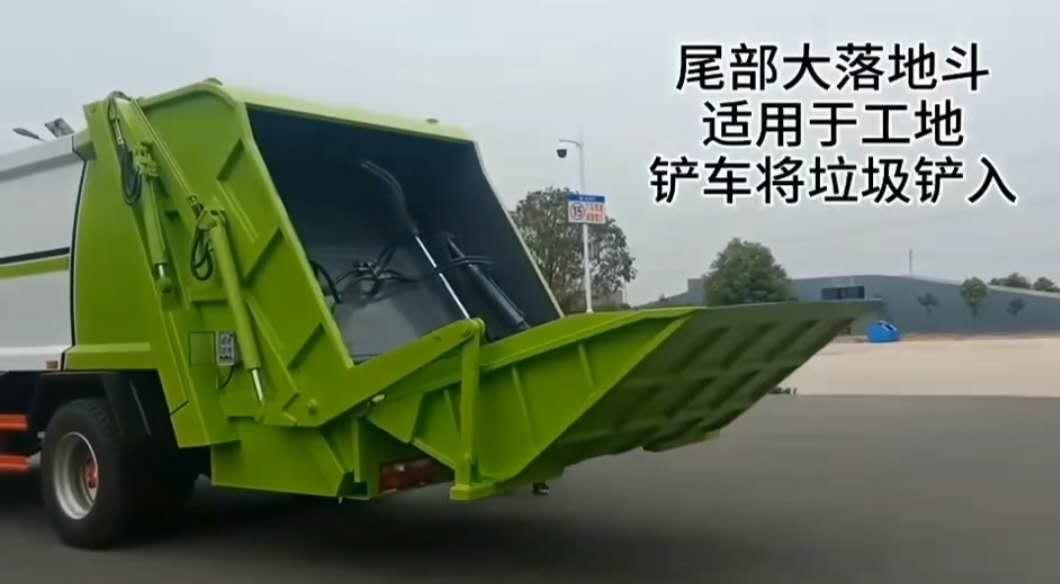 压缩垃圾车厂家讲解直接铲垃圾和挂桶倒入垃圾的垃圾车运输车不同操作图片