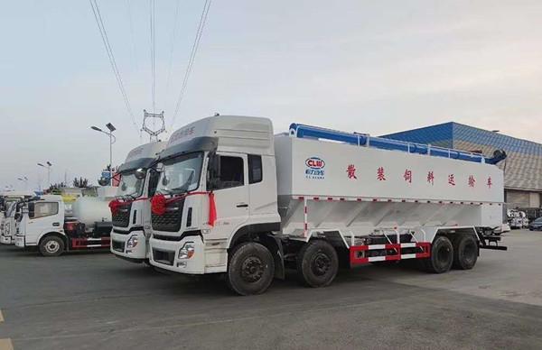 国六东风天龙20吨散装饲料车厂家图片
