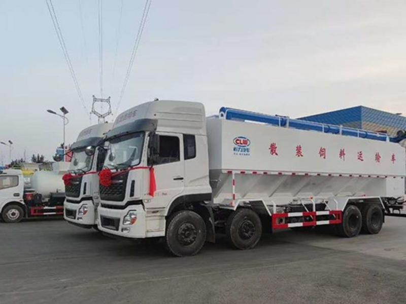 国六东风天龙20吨散装饲料车配置图片