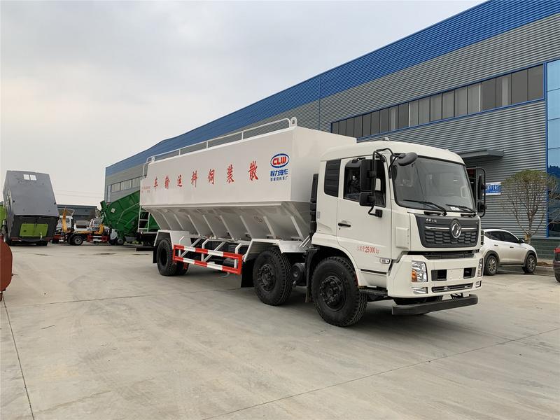 东风饲料车 天锦小三轴30方15吨散装饲料运输车价格