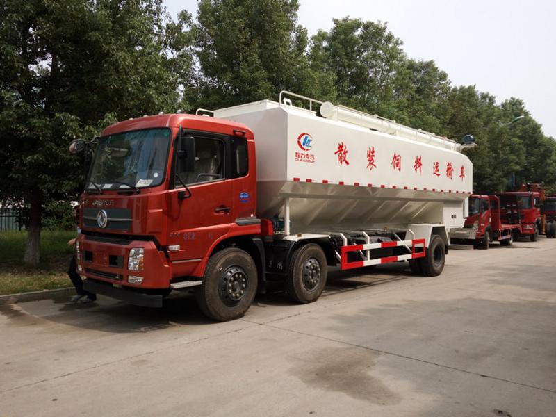 东风天锦小三轴30方散装饲料运输车厂家配置参数