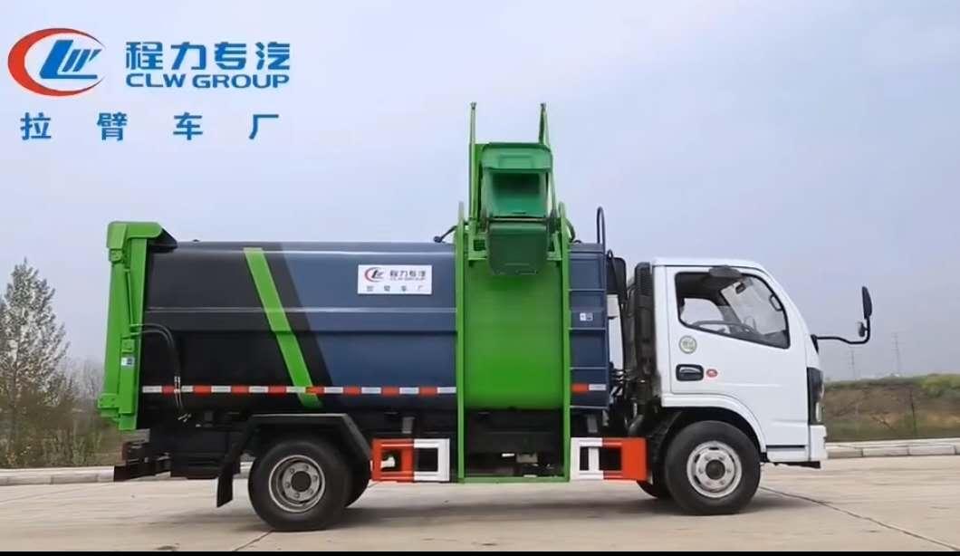 东风侧挂桶垃圾车视频压缩垃圾车厂家配置价格图片