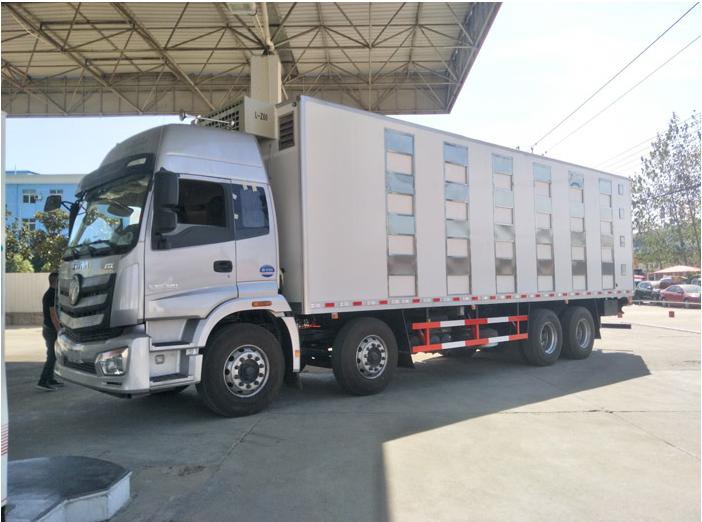 大型歐曼9.5米畜禽運輸車怎么賣?圖片