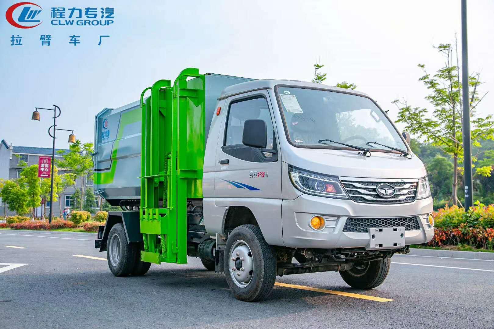 国六唐骏112马侧装挂桶汽油垃圾车,小区城区专用