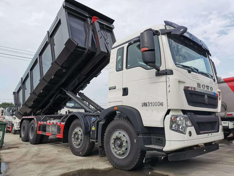 国六重汽豪沃前四后八车厢可卸式垃圾车免征自卸