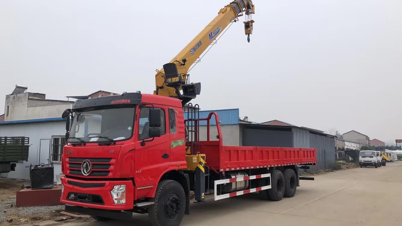 东风专用D3后八轮玉柴240马力配徐工12吨双联泵随车吊视频