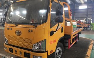 工厂定制款国六解放J6F蓝牌一拖二清障车图片