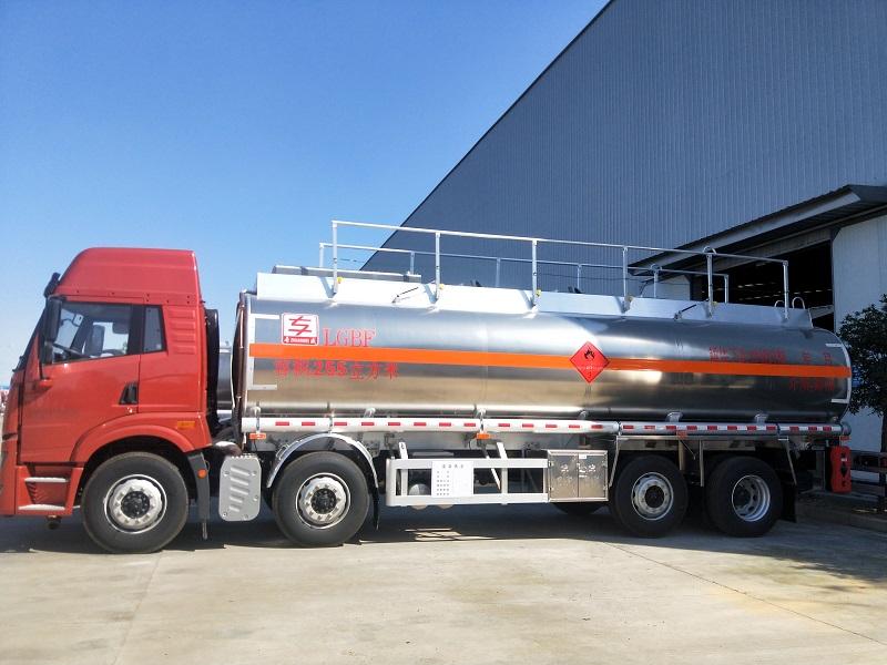 解放悍V前四后六额载20吨不超载铝合金运油车厂家 视频视频