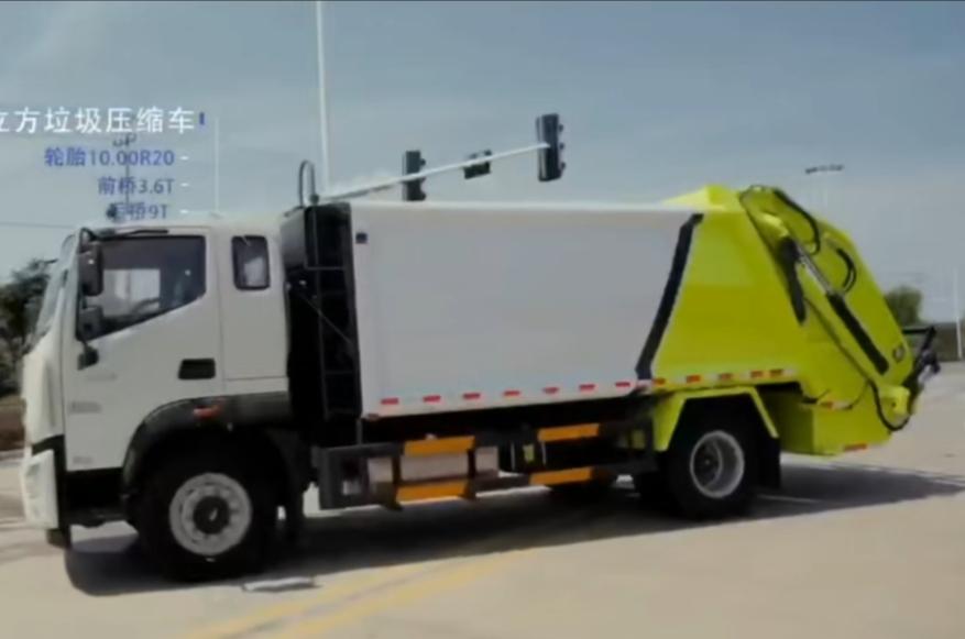 压缩垃圾车后置挂桶价格落地斗挤压垃圾运输车详细配置视频图片