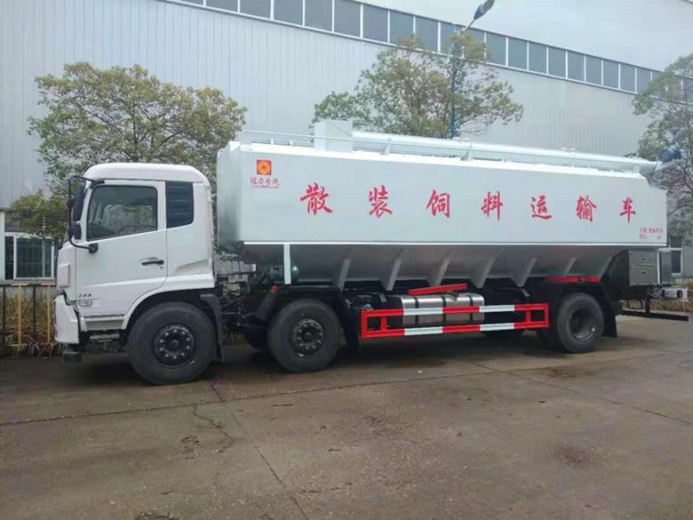 东风小三轴15吨猪场饲料上料车20吨散装饲料运输车价格