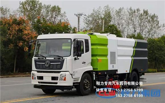东风天锦16方洗扫车清洗顽渍路面垃圾,后置冲洗滚刷新款上市视频