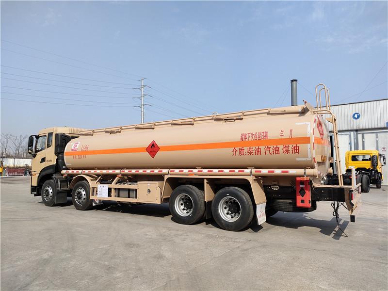 国六20吨油罐车东风天龙25.2方铝合金运油车龙擎350马力视频