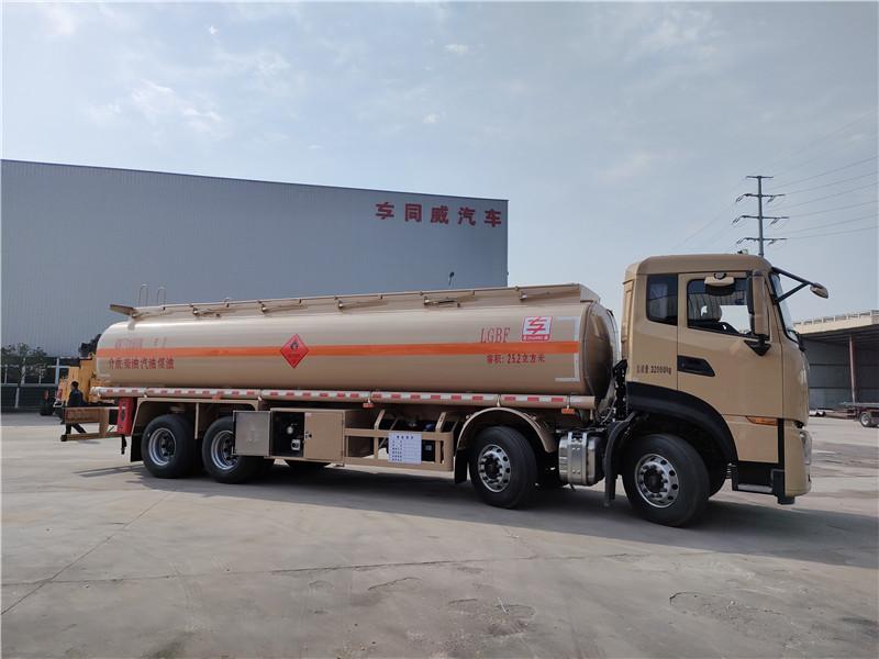 国六东风天龙核载20吨油罐车报价 25.2方前四后八空气悬挂
