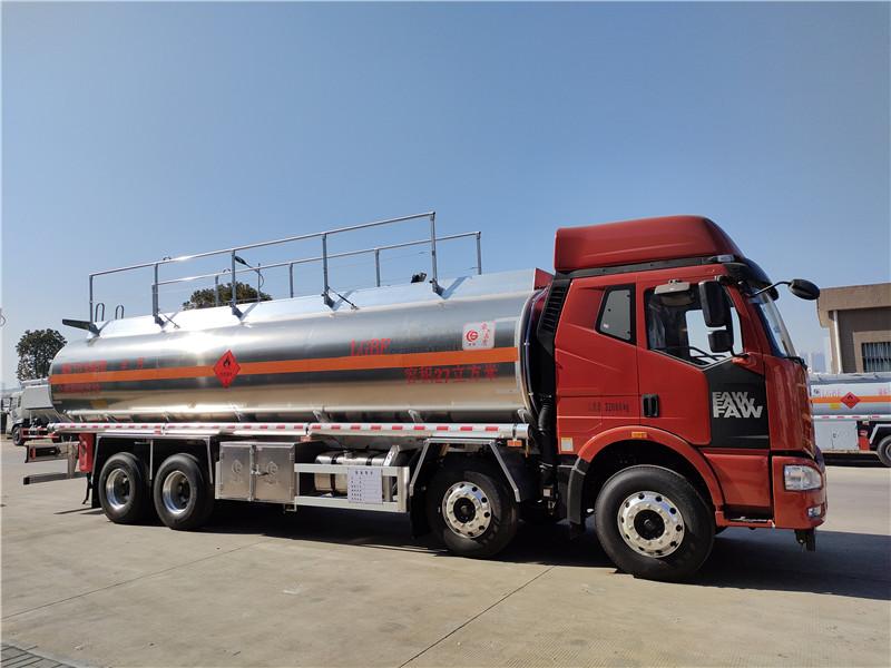 解放4轴25吨铝合金油罐车厂家报价 荷载21吨运油车视频视频