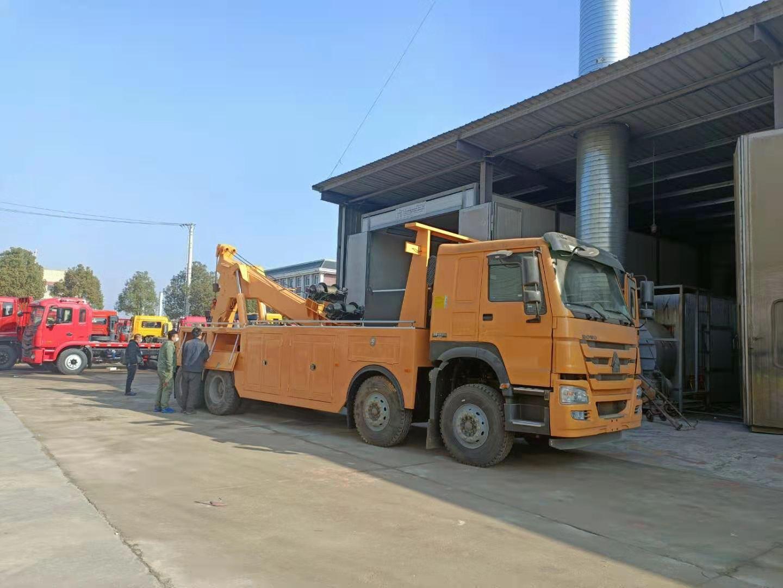 25吨重汽豪沃380马力清障车厂家批发价格国五前四后八拖车图片