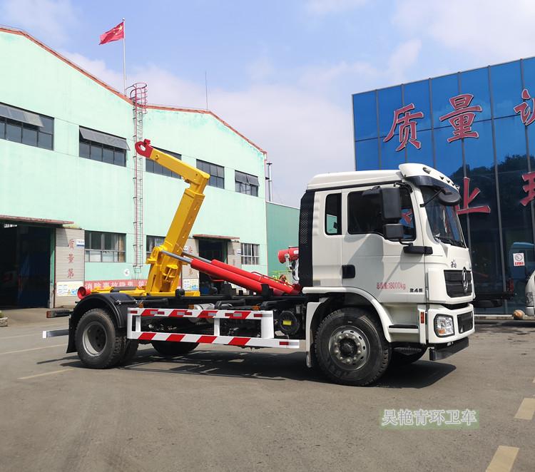陕汽德龙20吨勾臂式垃圾车视频