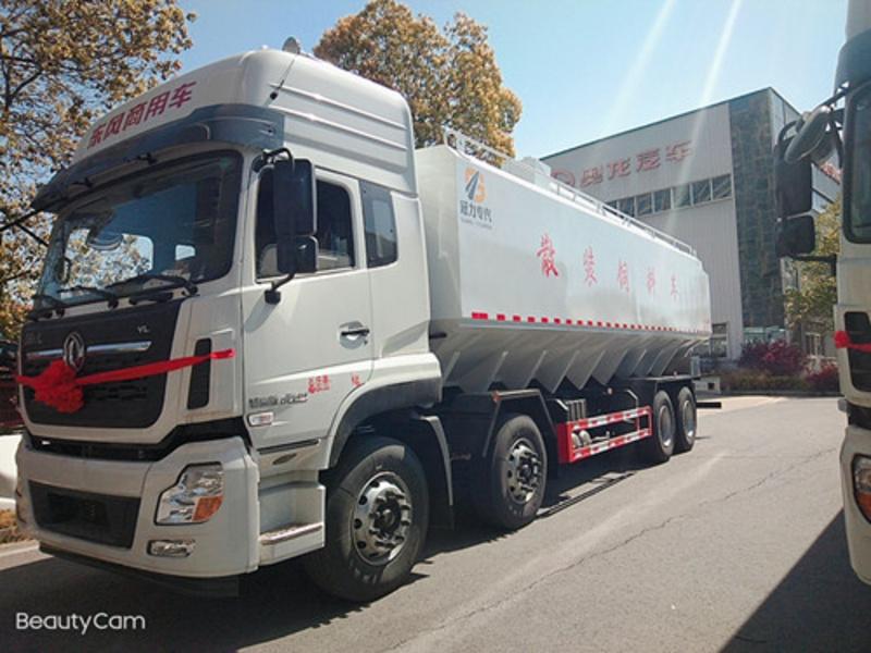 散装饲料运输车 40立方20吨东风天龙前四后八鸡饲料猪饲料畜牧饲料自动上料车 厂家直销