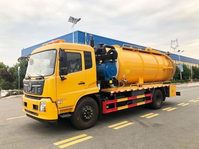 东风天锦12~15方带副发清洗吸污,泥浆运输车厂家直销哪里有