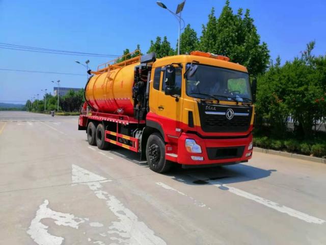 东风天龙22方后双桥带副发清洗吸污车,泥浆运输车厂家直销