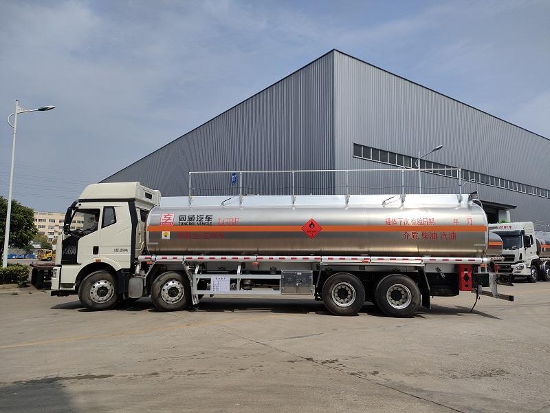 同威牌解放J6前四后八铝合金运油车额载21吨油罐车 视频视频