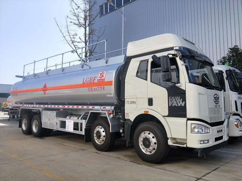 25吨柴汽油介质解放J6前四后八铝合金油罐车参数价格 视频视频