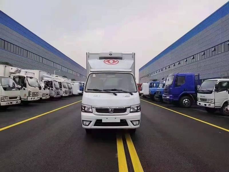 湖南长沙老客户介绍新客户来湖北程力厂区考察提现车国六东风途逸汽油版微小型厢式冷藏车两台