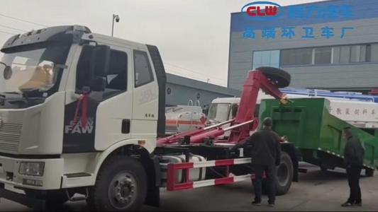 国六10方解放J6套臂垃圾车厂家配10方垃圾箱操作视频图片