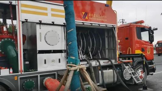 60米消防灑水車作業車演習實驗視頻