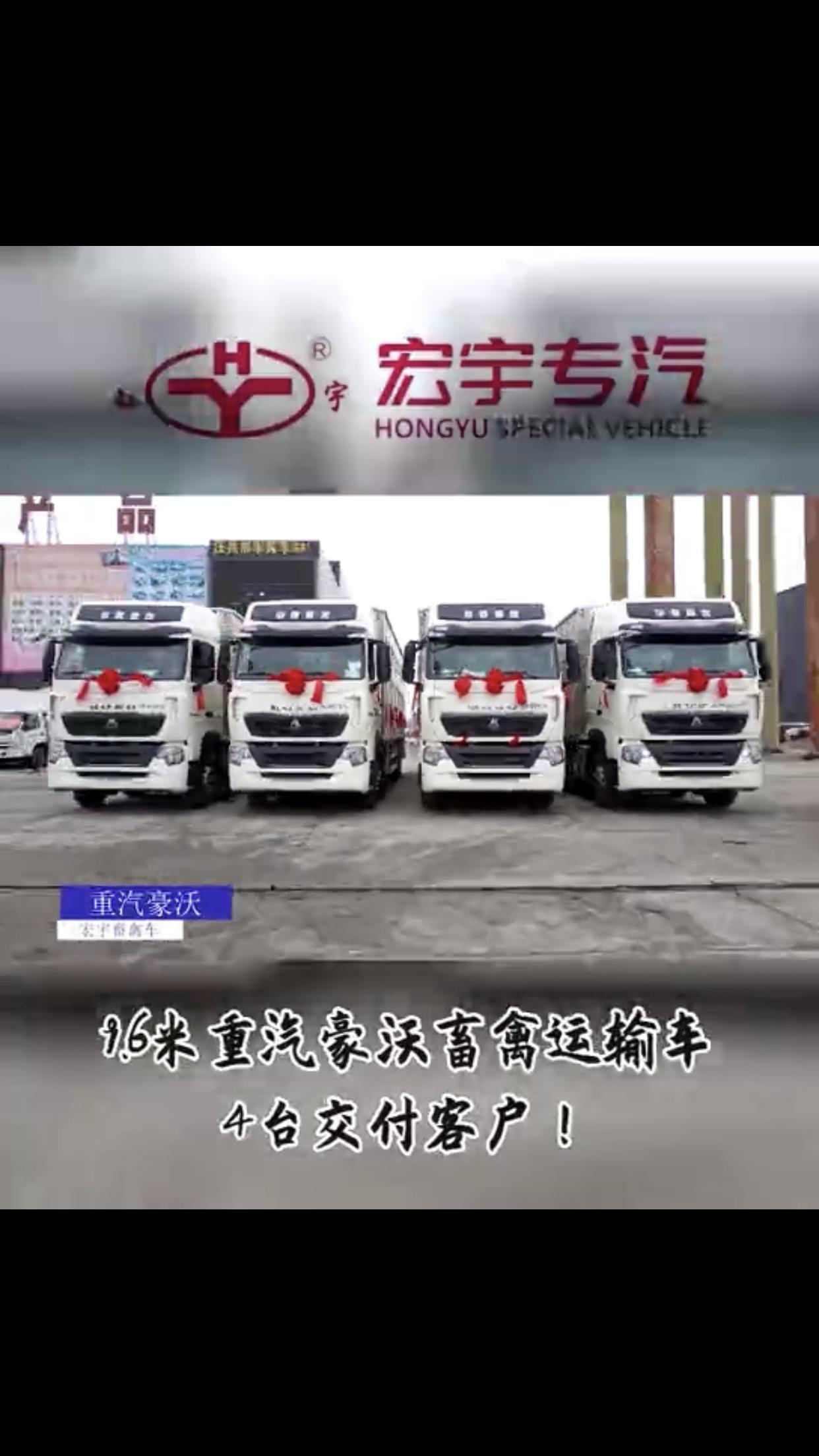 重汽豪沃9.6米禽畜运输车厂家视频