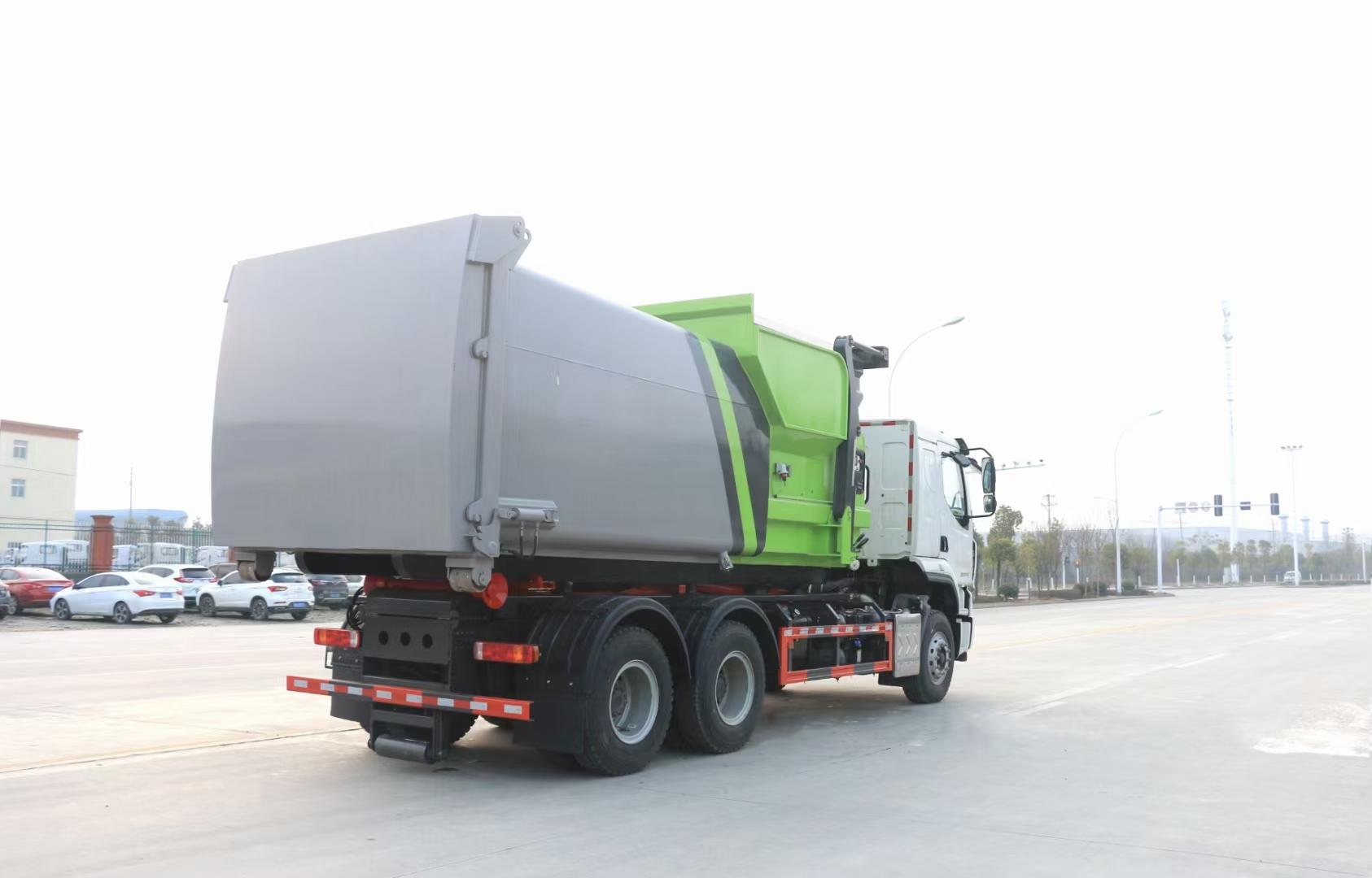国六柳汽18吨勾臂垃圾车配移动垃圾站图片